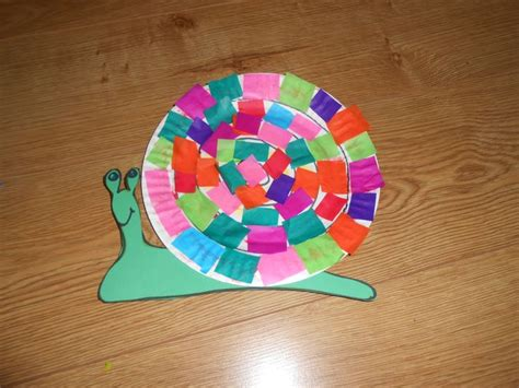 Snail Paper Plate Craft - paper plate snail pre k
