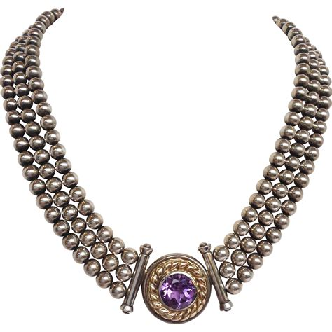3 strand beaded necklace sterling 14k gold and amethyst three strand beaded