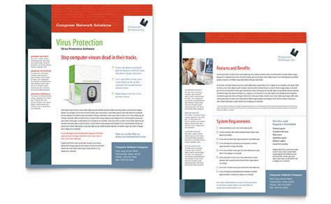 computer software company datasheet template design