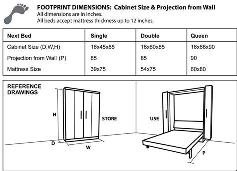 next bed cabinet dimensions