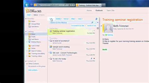 Office 365 Outlook Email Tutorial Office 365 Tutorial 2 Email In Owa