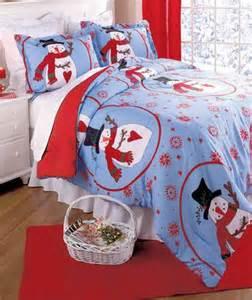 3 pc christmas snowman king size comforter bedroom set