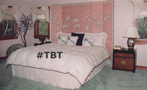 1980 s bedroom in peach and green is out of style