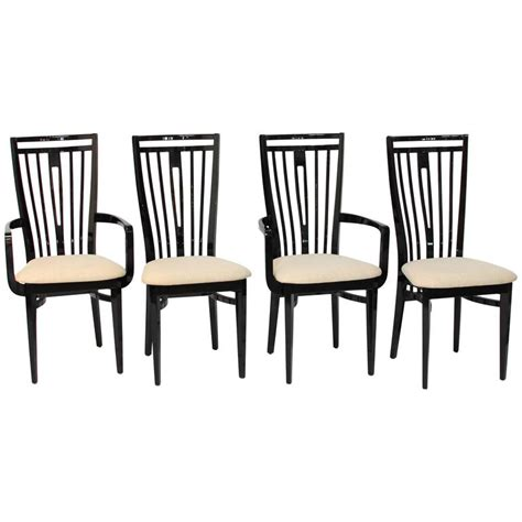 Black Lacquer Dining Room Chairs by Italian Black Lacquer Dining Chairs At 1stdibs