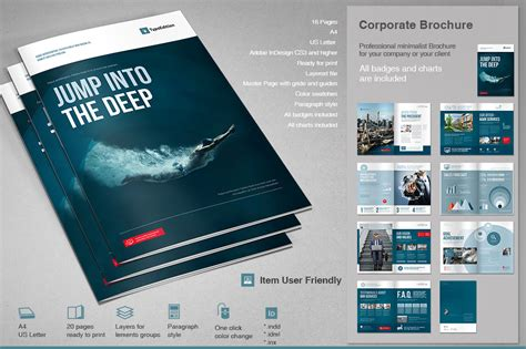 Corporate Brochure 2 Brochure Templates On Creative Market Corporate Brochure Templates Free