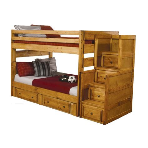 coaster rustic wood stairway bunk bed in