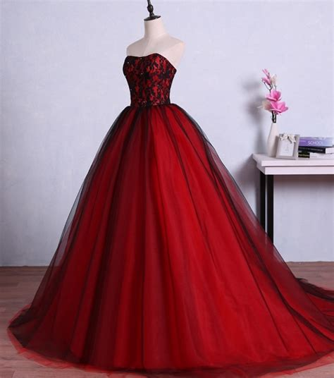 red  black long prom dresses  graduation tulle ball