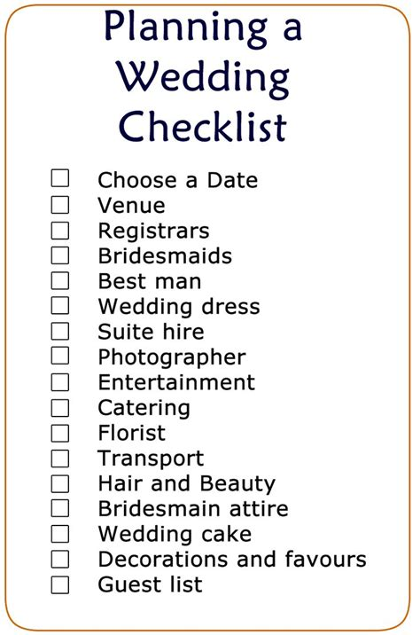 Wedding Checklist To Do List by Basic Wedding Checklist Printable Wedding Checklist