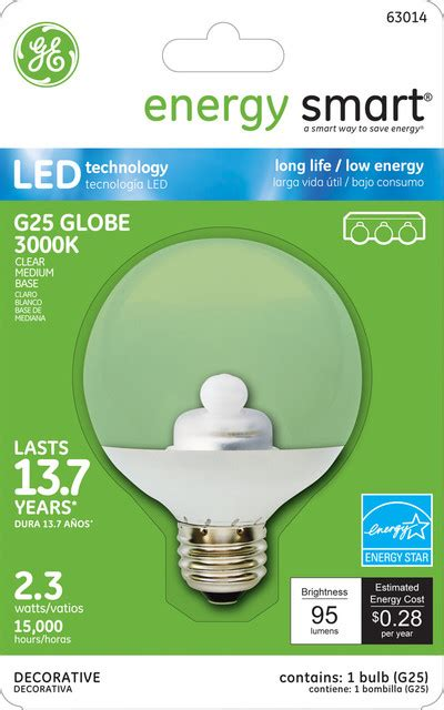 Ge Energy Smart 10w Replacement 2 3w Globe G25 Led Bulb Ge Energy Smart Led Light Bulbs