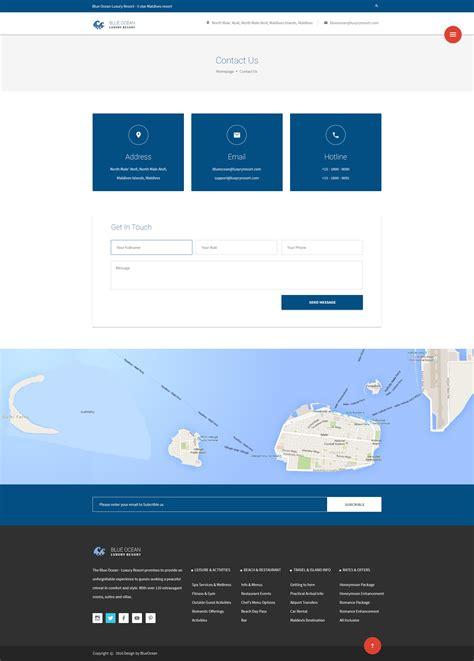 themeforest contact blue ocean resort hotel html template by pixartthemes