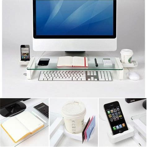 Computer Monitor Shelf For Desk White Accessorygeeks Tempered Glass Monitor Riser Stand With 3 Usb Ports Cup Holder Made In