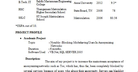 resume format for it professionals freshers fresher resume format it professional