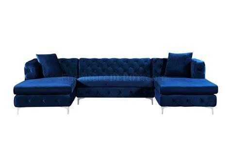 navy velvet sectional gail sectional sofa 664 in navy velvet fabric by meridian