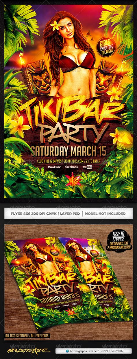 Tiki Bar Party Flyer Template V2 Graphicriver Bash Flyer Template V2
