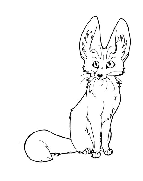 coloring pages fennec fox fennec line art by captainmorwen on deviantart