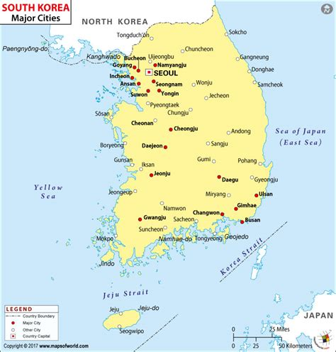 south korea city map cities in south korea map of south korea cities
