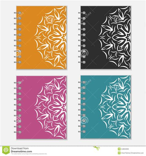 design notebook cover set of colorful notebook covers with flower design stock