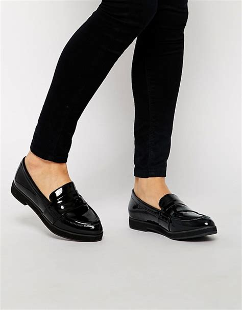 black flat shoes new look new look new look kool black patent flat loafer shoes