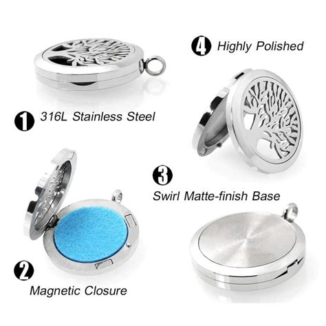 Tree Aromatherapy Locket Necklace tree of aromatherapy essential diffuser stainless