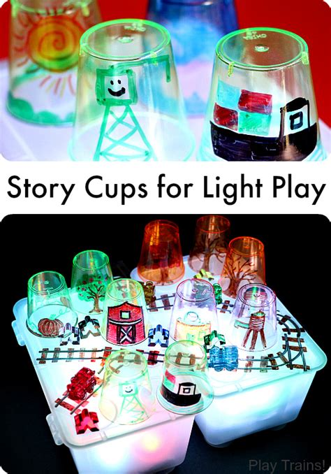 child craft light table cups for light play play trains