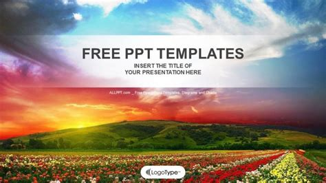 nature themes for powerpoint 2007 free field with flowers nature ppt templates