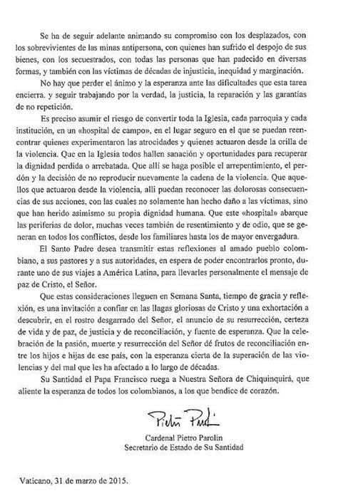 la carta para papa 1481278576 santos dice que la carta del papa es un est 237 mulo para seguir buscando la paz