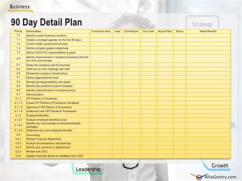 100 day plan template document exle chief operating officer 90 transition plan
