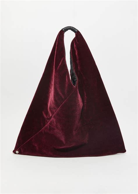 Velvet Tote Bag velvet triangle tote bag os bordeaux bags