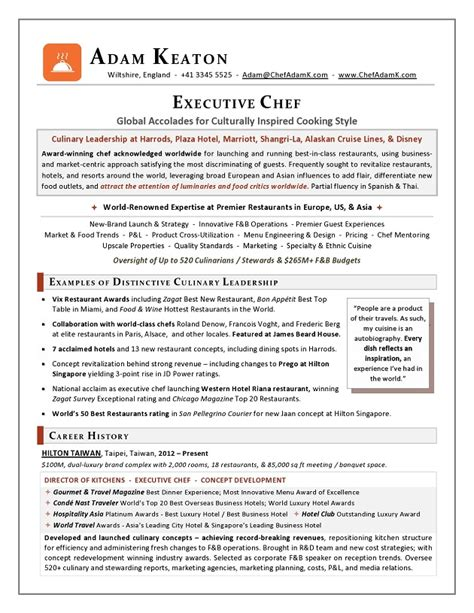 executive chef resume objective sle resume chef biography exles resume ixiplay