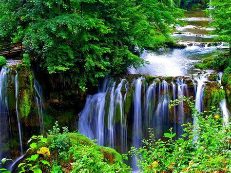 beautiful cascading waterfall beautiful green nature