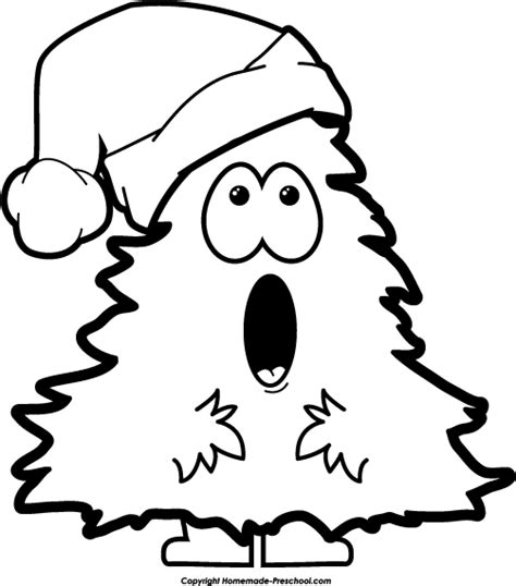 black and white picture of a christmas light free tree clipart