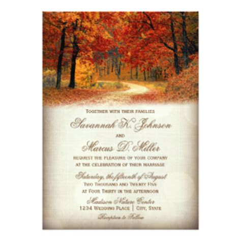 Wedding Invitations Fall Theme by Autumn Wedding Postcards Zazzle Uk
