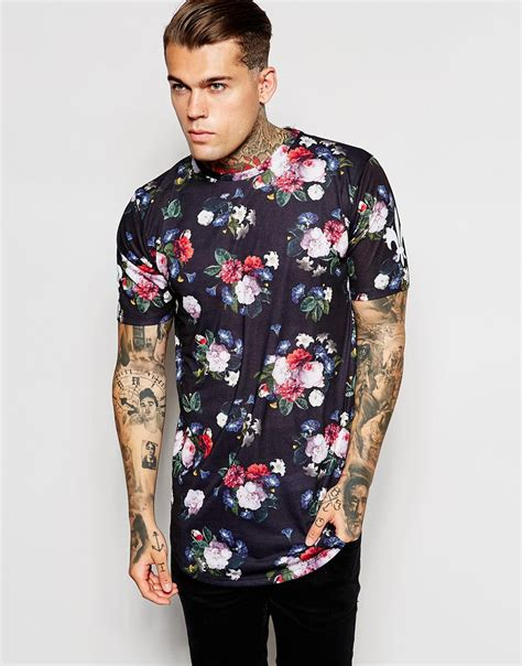Longline Printed T Shirt Mens by Criminal Damage Longline T Shirt With Floral Print And Curved Hem In Black For Lyst