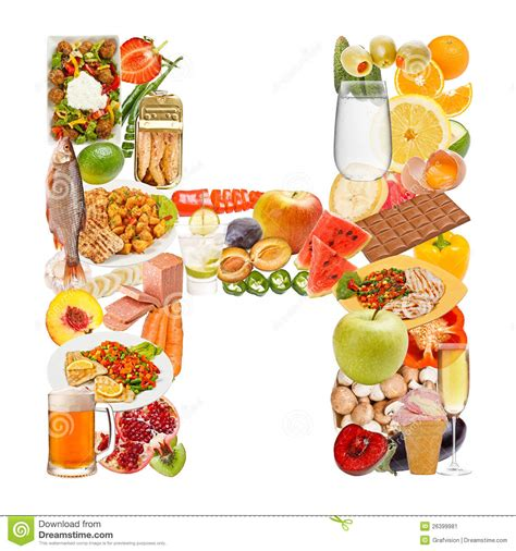up letter with food letter h made of food stock image image of fresh