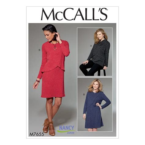 pattern review mccalls 6739 mccall s 7655 misses women s tunic and dress with overlay