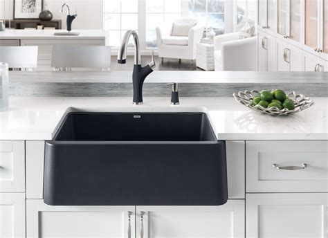 Blanco Black Granite Sink by Blanco Ikon Apron Front Single Bowl Blanco