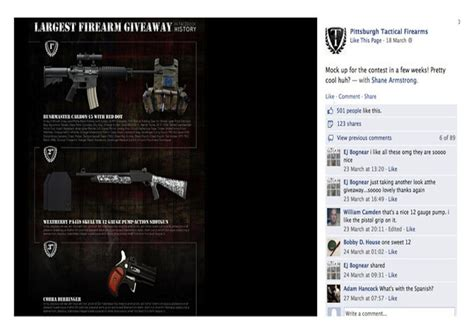 Firearm Sweepstakes - facebook removes gun sweepstakes pages