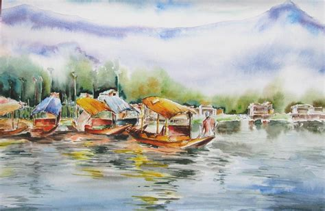 dal the paintings paradise on earth kashmir painting by sagnik datta