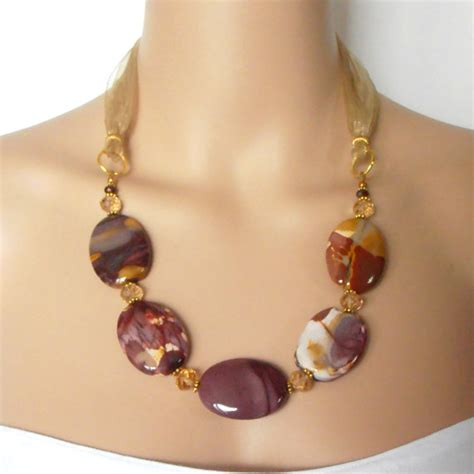 Chunky Gemstone Necklace Big Bead Jewelry Semi Precious