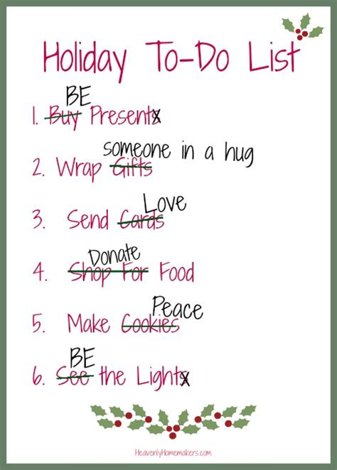 what s on your holiday to do list heavenly homemakers