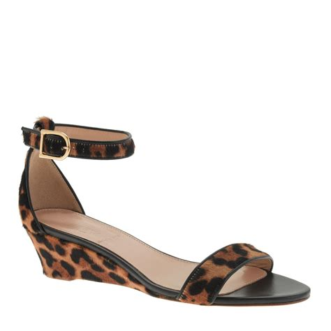 j crew collection lillian calf hair low wedges in brown