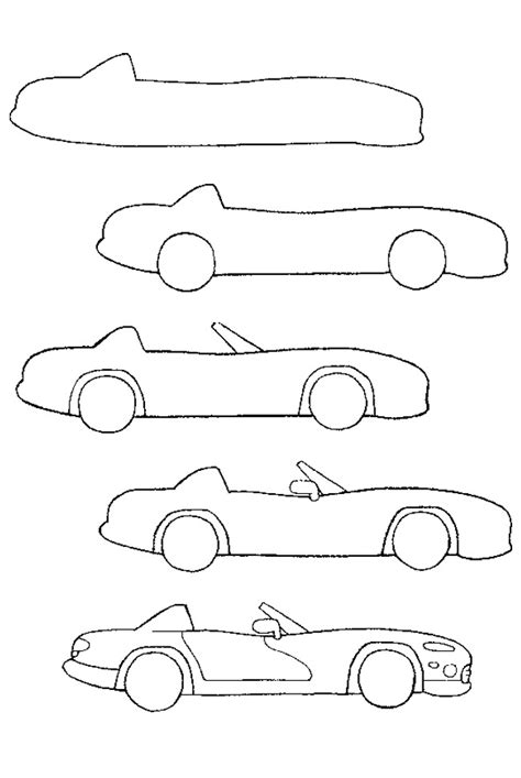 how to draw a convertible step by step cars draw cars how to draw a convertible tekenen in stapjes
