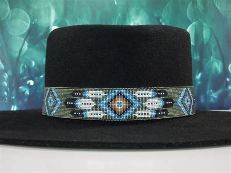beaded hat band american beaded hat band in a patina by