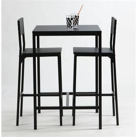 Table Haute Et Tabourets ensemble table haute et chaise de bar noir by drawer