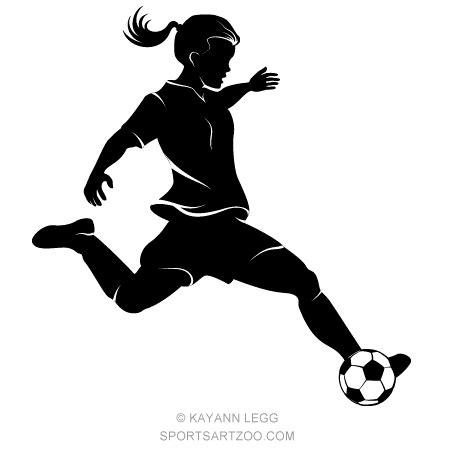 Girl Soccer Player Highlighted Silhouette — SportsArtZoo Girl Soccer Silhouette Clip Art