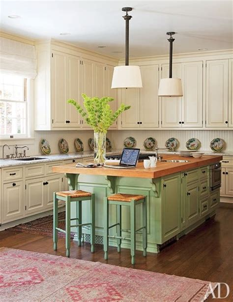green kitchen island return to home the two toned kitchen