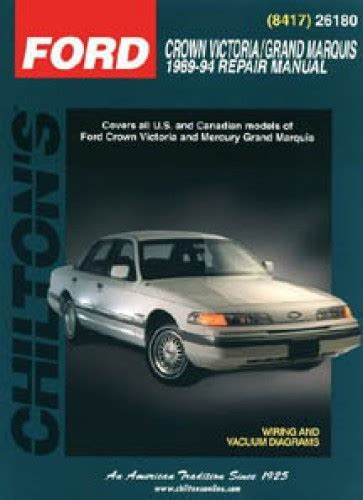 car repair manual download 1998 ford crown victoria engine control chilton ford crown victoria grand marquis 1989 1994 repair manual