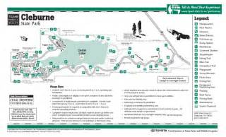 cleburne state park facility and trail map