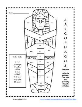 printable egyptian numbers addition and subtraction color by number ancient egypt