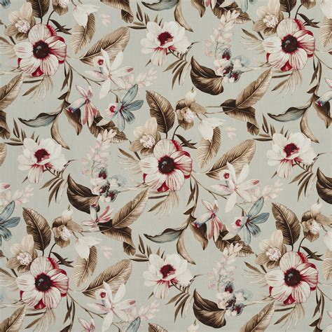 tropical print upholstery fabric aqua and beige tropical foliage leaf and flower print